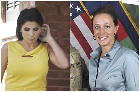 A combination photo shows Jill Kelley (L), a friend of former U.S. General David Petraeus' family, in Tampa, Florida on November 12, 2012 and Petraeus' biographer Paula Broadwell, in an ISAF handout image, originally posted July 13, 2011.