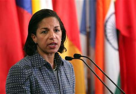 U.S. ambassador to the United Nations Susan Rice speaks with the media after Security Council consultations at U.N. headquarters in New York June 7, 2012.
