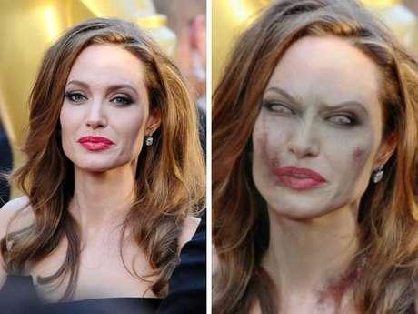 Estamos seguros de que Angelina Jolie se transforma cuando escucha el nombre de Jennifer Aniston. Su bella cara se convierte en algo parecido a lo que vemos en la imagen. Es muy probable que la ex de su esposo sea su primera víctima si se convierte en zombi.