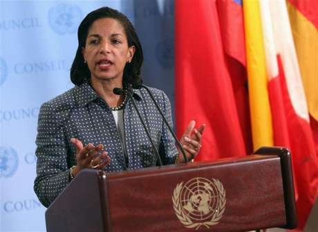 U.S. ambassador to the United Nations (U.N.) Susan Rice speaks with the media after Security Council consultations at U.N. headquarters in New York June 7, 2012.