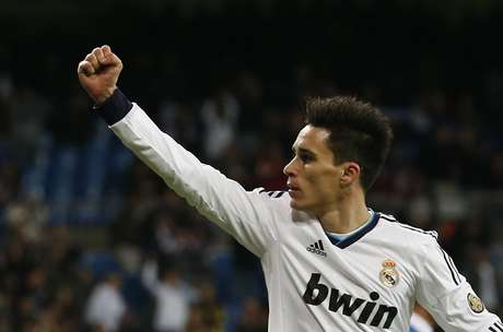 Jose Callejon celebrates one of his two goals in the Copa del Rey.