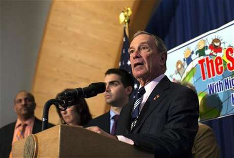 New York City Mayor Michael Bloomberg speaks during a press conference announcing the re-opening of 12 schools in the Rockaways and Brooklyn at P.S. 43 in the Far Rockaway section of the Queens borough of New York November 19, 2012.