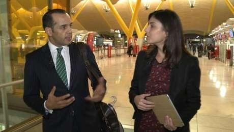 Juan Verde, durante en la entrevista en el aeropuerto de Barajas