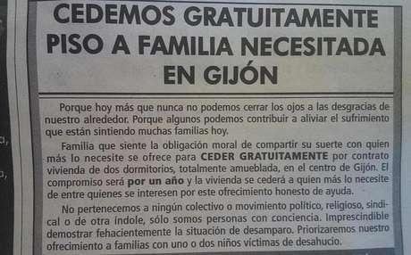 Imagen del anuncio publicado en un medio de comunicación asturiano
