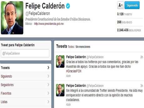 """Calderón escribió en su cuenta de Twitter """"Gracias a todos los twitteros por sus comentarios, gracias por las muestras de apoyo. Gracias a todos los que me han dicho #GraciasFCH"""".<br />"""