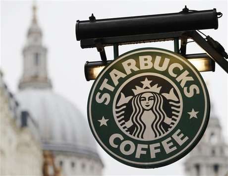 St Paul's Cathedral is pictured behind signage for a Starbucks coffee shop in London October 8, 2012. Picture taken October 8, 2012.