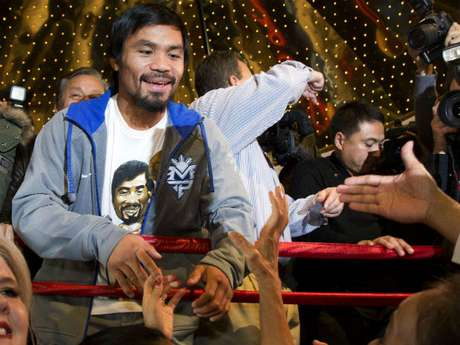 Pacquiao ya está en Las Vegas para su cuarta pelea ante Juan Manuel Márquez.