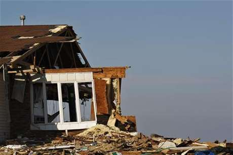 The debris of a home damaged by Superstorm Sandy is seen one month after the disaster at the zone of Union Beach in New Jersey November 29, 2012.