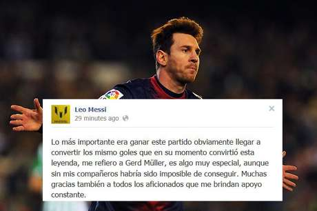 Lionel Messi set a record with 86 goals in one calendar year, surpassing the 40-year-old mark held by German superstar Gerd Muller. and Sunday night, he posted his official reaction to setting the mark on Facebook.