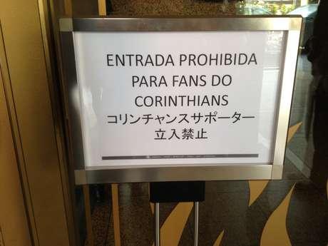 Hotel tomou a medida para evitar tumultos com a torcida corintiana