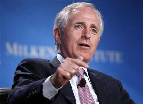 "U.S. Senator Bob Corker (R-TN) takes part in a panel discussion titled ""Fixer-Upper: Repairing the U.S. Housing Market"" at the Milken Institute Global Conference in Beverly Hills, California May 1, 2012."