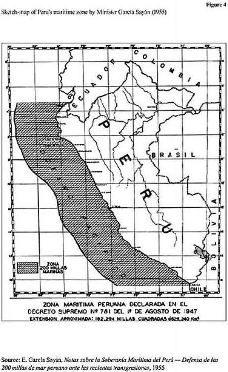 El ex Canciller peruano, Enrique García Sayán, en su libro, Notas sobre la Soberanía Marítima del Perú, adjunta un mapa en su trabajo que ratificaría la posición chilena.<br />