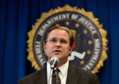 Bill Lewis, assistant director in charge of FBI Los Angeles field office, speaks during a news conference to announce the arrest of four people from Southern California on terrorism charges on November 20, 2012 in Los Angeles, California. The four men, Sohiel Omar Kabir, Ralph Deleon, Miguel Alejandro Santana Vidriales and Arifeen David Gojali were charged for their roles in a plot to provide material support to terrorists by making arrangements to join Al-Qaeda and the Taliban in Afghanistan in order to kill, among others, American targets in foreign country. (Photo by Kevork Djansezian/Getty Images)