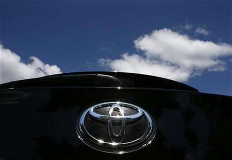 The Toyota logo is seen on a car in Los Angeles October 10, 2012.