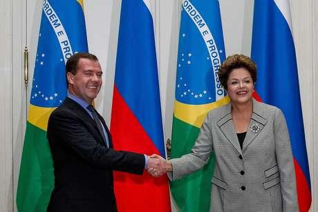 Dilma encontrou-se nesta quinta-feira com o primeiro-ministro russo, Dmitry Medvedev, em Moscou