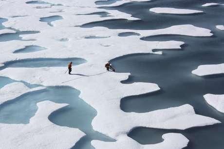 <p>O derretimento recorde do Ártico preocupa os ambientalistas</p>