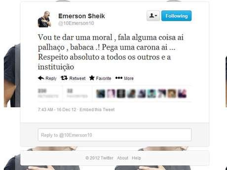 Emerson dispara xingamentos no Twitter sem citar o destinatário