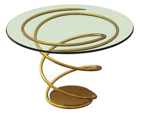 Esta mesa de vidro tem uma base de sustentação feita de metal folheado a ouro 24 quilates. São apenas 23 peças numeradas e assinadas