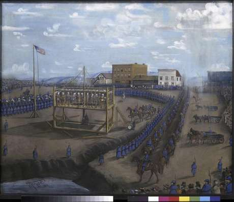 """A painting titled """"Execution of Dakota Indians, Mankato, Minnesota"""" is pictured in this handout photo from the Minnesota Historical Society."""