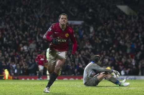 Javier Hernández, o Chicharito, marcou o gol da vitória para o Manchester United