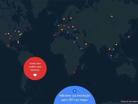 Mapa mostra as resoluções de Ano-Novo de usuários do Google ao redor do mundo