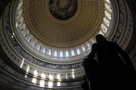 A statue of the United States first President, George Washington, is seen under the Capitol dome in Washington January 2, 2013.