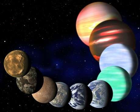 Imagem artística mostra diferentes tipos de planetas na Via Láctea detectados pelo Kepler
