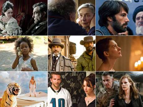MEJOR PELÍCULA<br /><br />(Izq. a der., arriba a abajo) Lincoln, Amour, Argo, Beasts Of Southern Wild, Django Unchained, Les Misérables, Life Of Pi, Silver Linings Playbook, Zero Dark Thirty.<br /><br />PREDICCIÓN CARLOS MACÍAS: LINCOLN<br />PREDICCIÓN ERNESTO SÁNCHEZ: LINCOLN<br /><br />DEBERÍA GANAR: LIFE OF PI, un filme inteligente que nos hace reflexionar, emocionarnos y experimentar miles de emociones con el mejor uso de 3D posible.<br /><br />