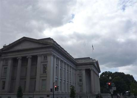 The U.S. Treasury building is seen in Washington, September 29, 2008.