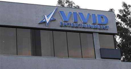 The logo of pornographic film production company Vivid Entertainment Group is seen on the building of its headquarters in Los Angeles, California January 11, 2013.