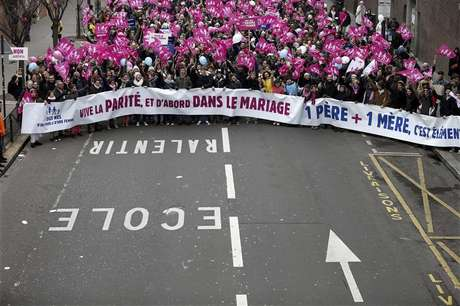 Thousands of demonstrators march in Paris, to protest France's planned legalisation of same-sex marriage, January 13, 2013.