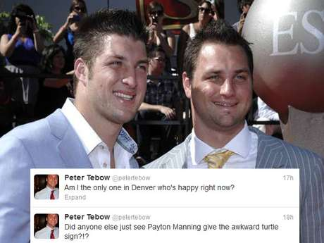 Peter Tebow, Tim's brother, took to social media to gloat a little about the Denver Broncos' playoff loss to the Ravens, after the team dumped his bro after last year's playoffs. Tim won one playoff game for Denver, Peyton Manning hasn't won any. Apparently, Peter lives in Denver, but he might want to consider moving.