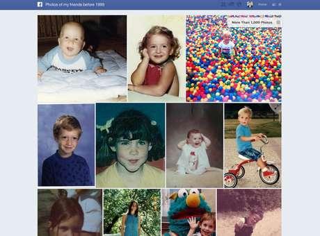 """Facebook introduziu título que o usuário pode modificar ao ser gosto, rotulando de forma natural os conteúdos que posta. No exemplo, busca mostra fotos a partir da pergunta """"fotos dos meus amigos quando crianças"""""""