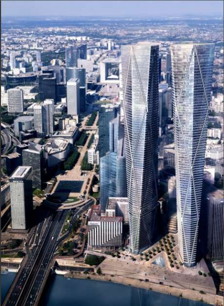 <strong>Hermitage Plaza, Paris: </strong>o bairro de La Défense, situado a noroeste de Paris, é o mais moderno da capital francesa, com diferentes prédios e arranha-céus empresariais. Em 2017, La Défense terá torres que entrarão entre as mais altas da Europa no complexo Hermitage Plaza, com dois prédios de 320 metros, com um parque, lojas e restaurantes em seu térreo