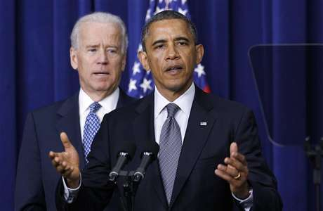 U.S. President Barack Obama (R) and Vice President Joe Biden announce a series of proposals to counter gun violence during an event at the White House in Washington January 16, 2013.