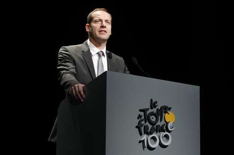 Tour de France director Christian Prudhomme presents the itinerary of the 2013 Tour de France cycling race during a news conference in Paris October 24, 2012.