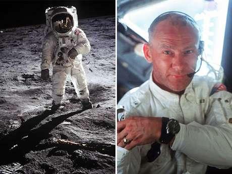 À esquerda, Buzz Aldrin em uma das mais conhecidas fotos da exploração espacial. A outra imagem também foi feita durante a missão Apollo 11. Aldrin faz 83 anos neste domingo