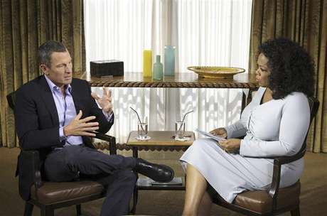 Cyclist Lance Armstrong is interviewed by Oprah Winfrey in Austin, Texas, in this January 14, 2013 handout photo courtesy of Harpo Studios.
