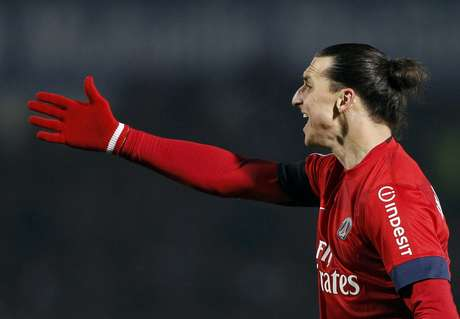 Paris Saint-Germain's Zlatan Ibrahimovic reacts during his French Ligue 1 soccer match at the Chaban Delmas Stadium in Bordeaux, Southwestern France, January 20, 2013.