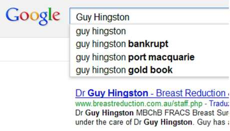Pesquisa do Google sugere 'falido' como complemento do nome do cirurgião australiano