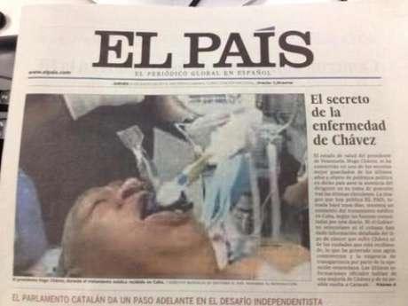 Suposta foto de Chávez entubado teve grande destaque na capa da versão impressa do 'El País'