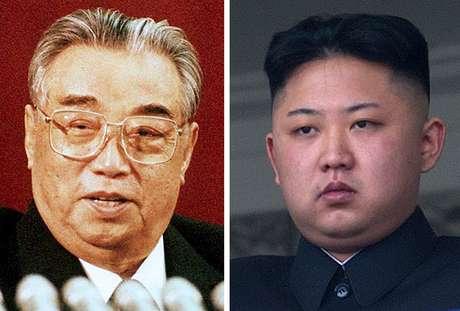Kim Il-Sung (dir.), em foto de 1992, e Kim Jong-Un, em 2012: semelhança estética e herança da legitimidade?