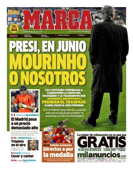 La portada de Marca en donde habla la reunión de los capitanes del Madrid con el presidente Pérez.