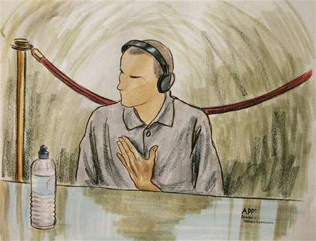 In this courtroom illustration, Ali Hamza Ahmad Sulayman al Bahlul appears before a military commission at Guantanamo Naval Base August 26, 2004 in Guantanamo, Cuba. Bahlul is charged with conspiracy to commit war crimes.