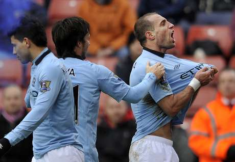 Pablo Zabaleta celebrates after opening up the score against Stoke City.