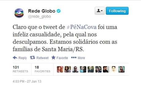 """Em seu perfil oficial, a Rede Globo se desculpou por mensagem """"infeliz"""", que convidava os internautas a criarem lápides interativas no site da série 'Pé na Cova'"""