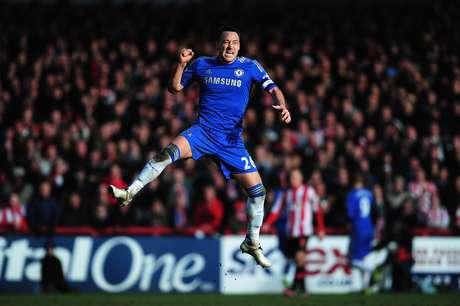 John Terry celebrates Fernando Torres' goal.