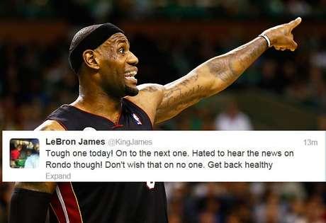 LeBron James fue una de las muchas estrellas de la NBA que trinó acerca de la noticia de que Rajon Rondo, de los Boston Celtics, Rajon se perdería el resto de la temporada tras sufrir una rotura de ligamentos.