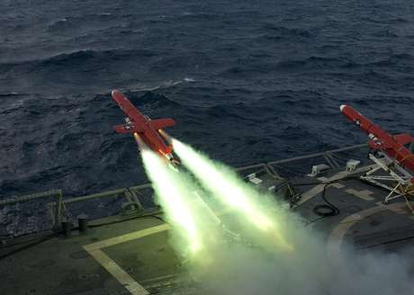 A U.S. Navy BQM-74E drone launches from the flight deck of the guided missile frigate USS Underwood (FFG 36) during a live fire exercise in the Caribbean Sea, September 21, 2012 as part of Unitas Atlantic phase 53-12 in this image released on September 24, 2012.