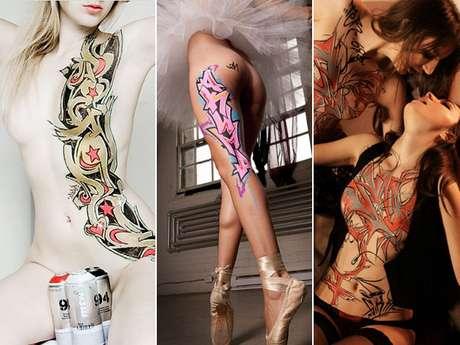 Artistas usam mulheres como telas para pintar com spray